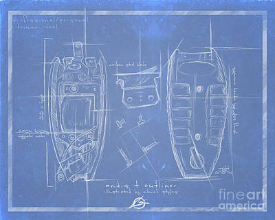 The Blueprint T Outliner Poster by The Styles Gallery