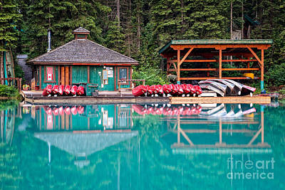 The Boat House At Emerald Lake In Yoho National Park Poster
