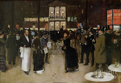 The Boulevard At Night Poster by Jean Beraud