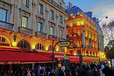 The Boulevard Saint Michel At Dusk In Paris, France Poster by Richard Rosenshein