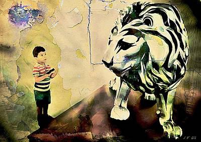 The Boy And The Lion Graffiti Creator,street-art Graffiti,street-art,graffiti Art Street,banksy Art, Poster