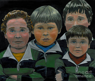 Poster featuring the painting The Boys Down The Street by Gail Finn