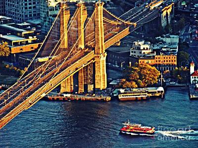 Poster featuring the photograph The Brooklyn Bridge At Sunset   by Sarah Loft