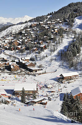 The Busy Chaudanne In Meribel The Heart Of Meribel In The Three Valleys Resort France Poster by Andy Smy
