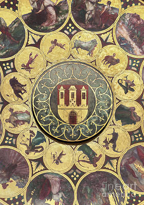 The Calendar Plate With Coat Of Arms Of Prague, Czech Republic. Wallpaper Background Poster