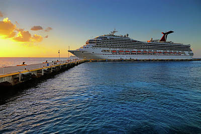 Poster featuring the photograph The Carnival Freedom At Sunset - Cozumel - Mexico by Jason Politte