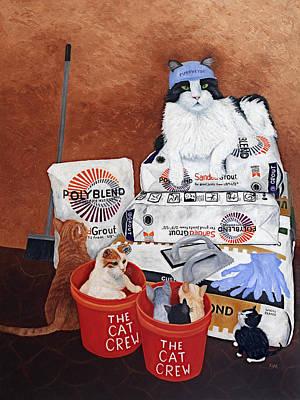 Poster featuring the painting The Cat Crew by Karen Zuk Rosenblatt