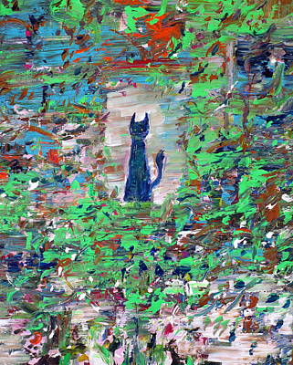 Poster featuring the painting The Cat In The Garden by Fabrizio Cassetta