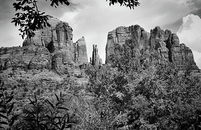 The Cathedral - Sedona Arizona - Red Rock Crossing - Black And White  Poster by Gregory Ballos