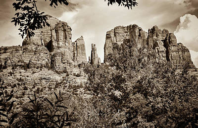 The Cathedral - Sedona Arizona - Red Rock Crossing - Sepia Poster by Gregory Ballos