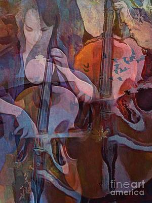Poster featuring the digital art The Cellist by Alexis Rotella