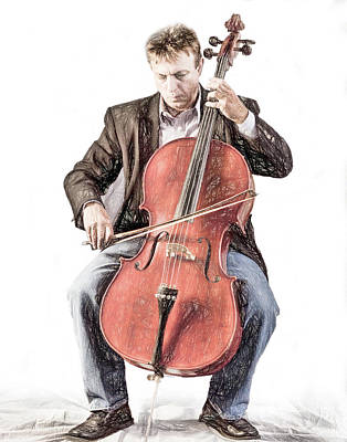 Poster featuring the photograph The Cello Player In Sketch by David and Carol Kelly