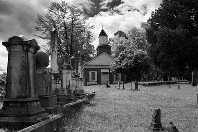 The Cemetery At Harshaw Chapel In Black And White Poster