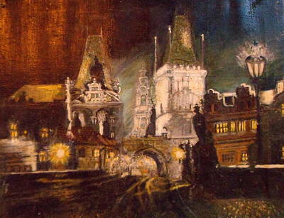 The Charles Bridge In Prague At Night Poster