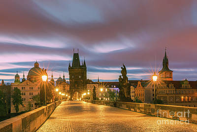 The Charles Bridge In Prague At Sunrise Poster by Henk Meijer Photography
