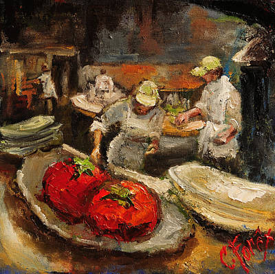 The Chefs Table At Hot And Hot Poster by Carole Foret