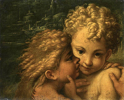 The Christ Child And The Infant Saint John The Baptist Poster by Follower of Parmigianino