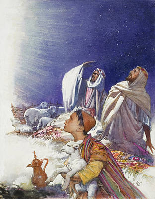 The Christmas Story The Shepherds' Tale Poster by John Millar Watt