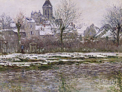 The Church At Vetheuil Under Snow Poster
