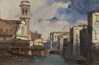 The Church Of Santo Trovaso - Venice Poster by Jules-romain Joyant