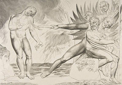 The Circle Of Corrupt Officials, The Devils Tormenting Ciampolo Poster by William Blake