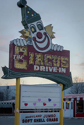Poster featuring the photograph The Circus Drive In Sign Wall Township Nj by Terry DeLuco