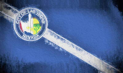 Poster featuring the digital art The City Flag Of Las Vegas by JC Findley