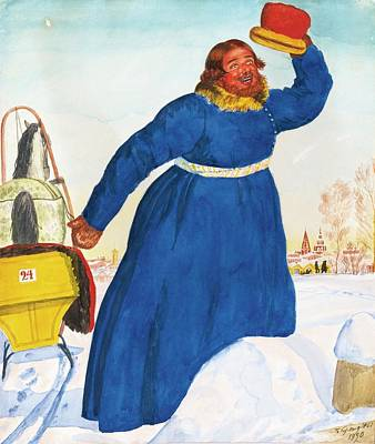 The Coachman Poster by Mikhailovich Kustodiev