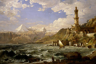 The Coast Of Genoa Poster by Jasper Francis Cropsey