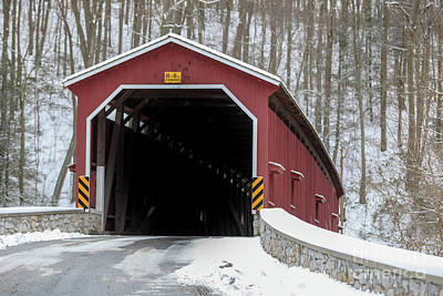 The Colemansville Covered Bridge In Winter Poster