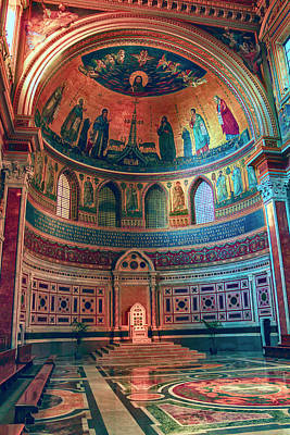 The Colorful Interior Of Roman Catholic Cathedral Poster