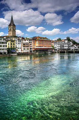The Colorful Limmat River Zurich Switzerland  Poster