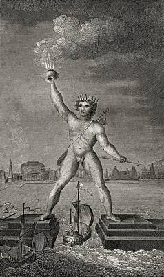 The Colossus Of Rhodes. Engraved By Poster by Vintage Design Pics