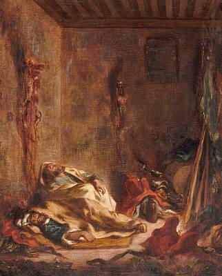 The Corps De Garde In Meknes Poster by Eugene Delacroix