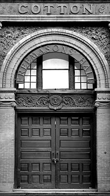 The Cotton Exchange Building Door Black And White Poster by Linda Covino