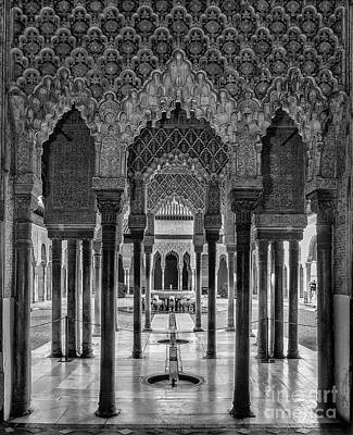 The Court Of The Lions Alhambra Palace Bnw Poster