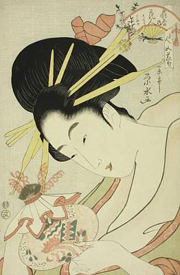 The Courtesan Hanahito Of The Ogiya And Attendants Sakura And Momiji Poster