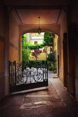 The Courtyard Gate Poster by Carol Japp
