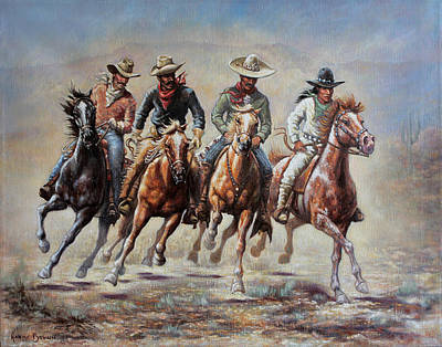 The Cowboys Poster by Harvie Brown