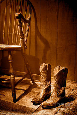 The Cowgirl Boots And The Old Chair - Sepia Poster by Olivier Le Queinec