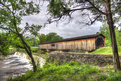 The Crossing Watson Mill Covered Bridge Poster by Reid Callaway