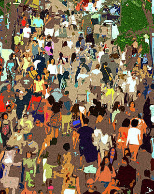 Poster featuring the painting The Crowd by David Lee Thompson