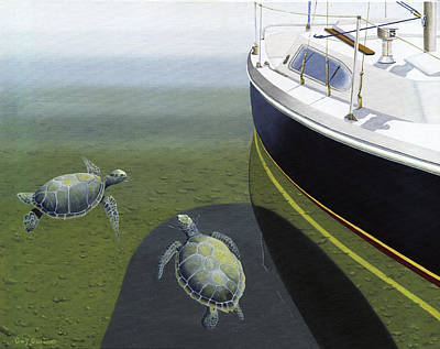 Poster featuring the painting The Curiosity Of Sea Turtles by Gary Giacomelli