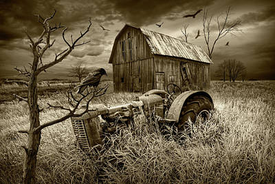 Poster featuring the photograph The Decline And Death Of The Small Farm In Sepia Tone by Randall Nyhof