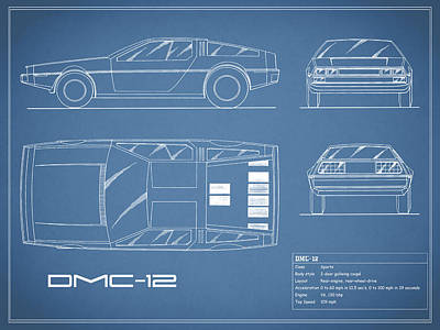 The Delorean Dmc-12 Blueprint Poster by Mark Rogan