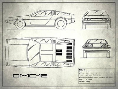 The Delorean Dmc-12 Blueprint - White Poster by Mark Rogan