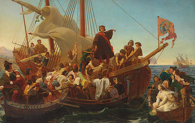 The Departure Of Columbus From Palos Poster by Emanuel Gottlieb Leutze