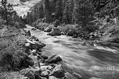 The Deschutes River In Black And White Poster
