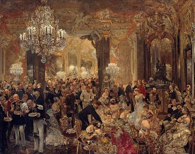 The Dinner At The Ball Painting Painted Originally Poster by Adolph Menzel