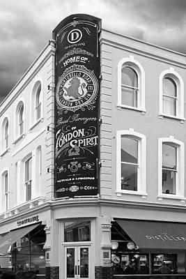 The Distillery Portobello Road London Spirit Gin House In Black And White Poster by Gill Billington